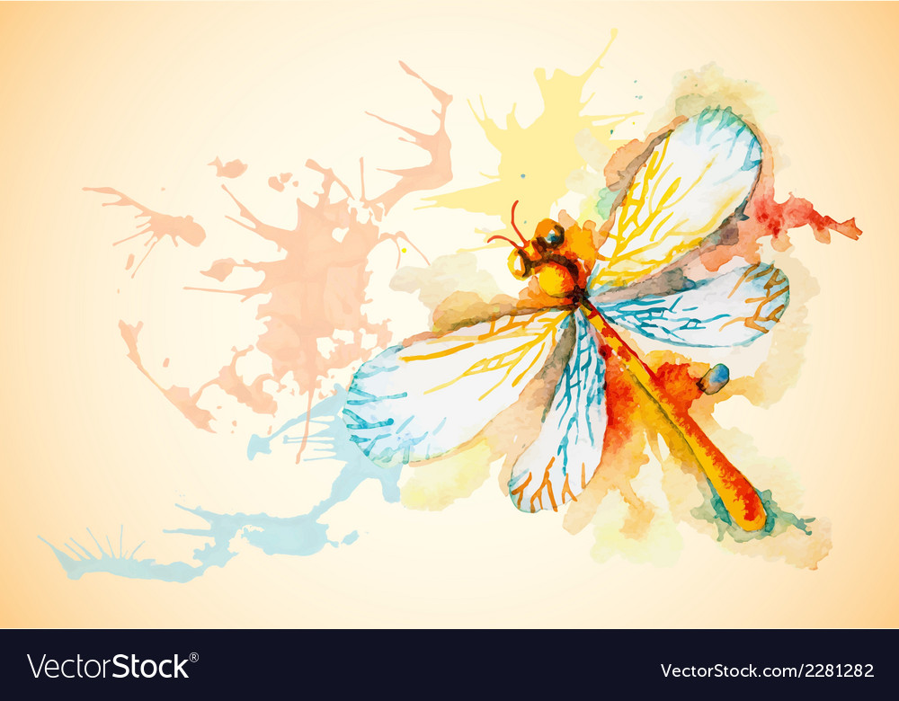 Horizontal background with orange dragonfly vector | Price: 1 Credit (USD $1)