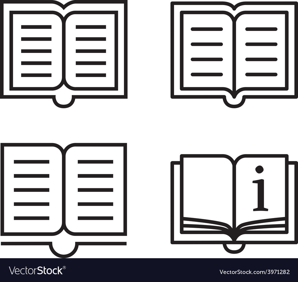 Outline book icons vector | Price: 1 Credit (USD $1)