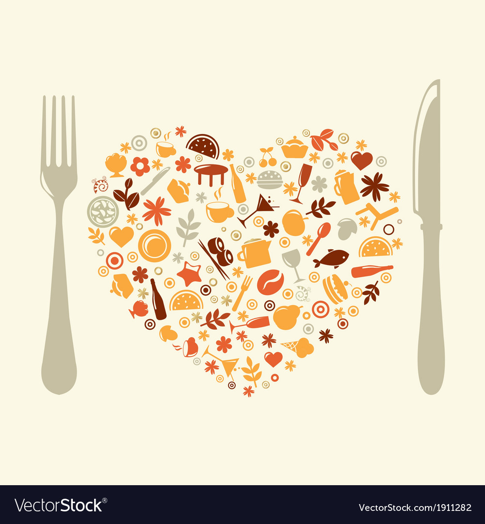 Restaurant design in form of heart vector | Price: 1 Credit (USD $1)