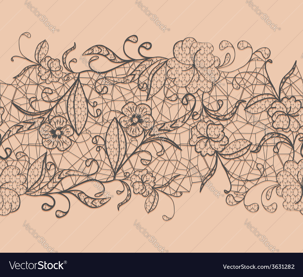 Seamless lace black ribbon on a pink background vector | Price: 1 Credit (USD $1)