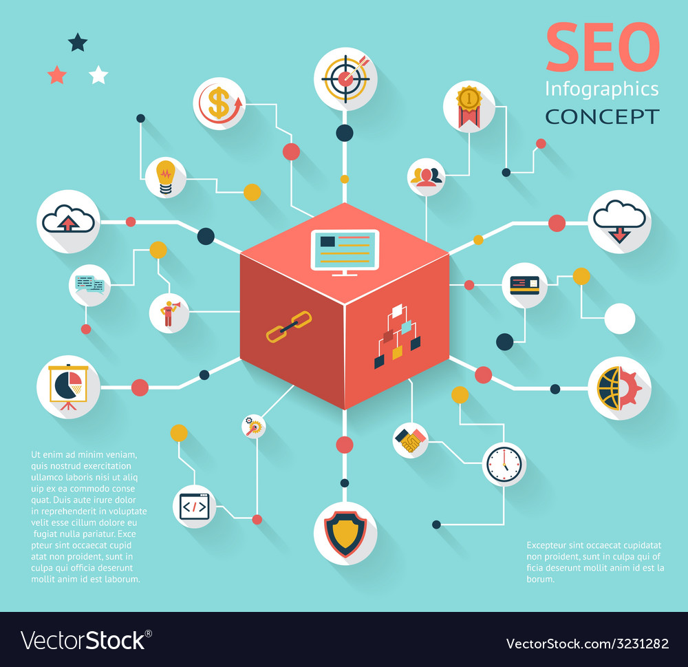 Seo infographic icon concept vector | Price: 1 Credit (USD $1)