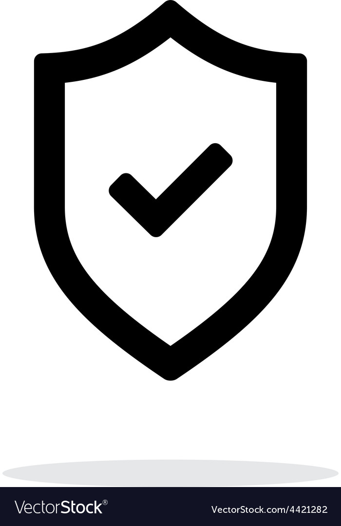 Shield with check mark icon on white background vector | Price: 1 Credit (USD $1)