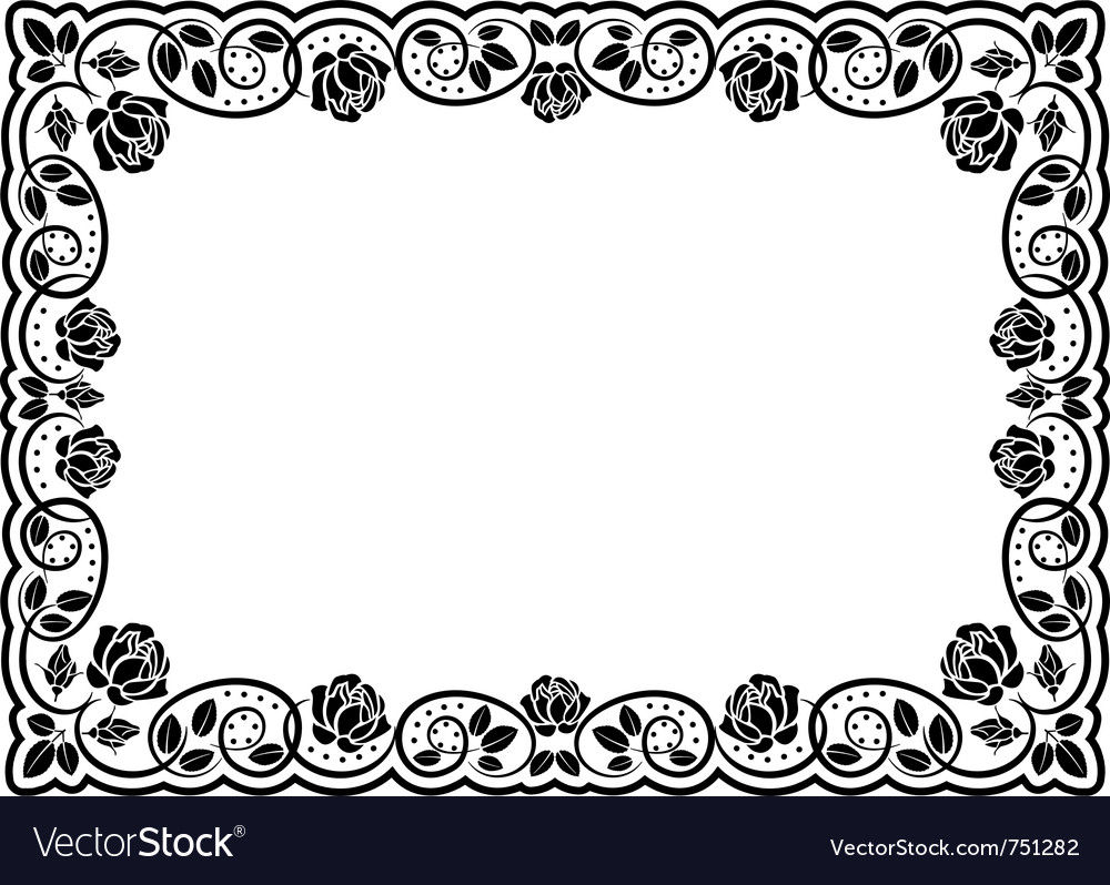 Silhouette border roses vector | Price: 1 Credit (USD $1)