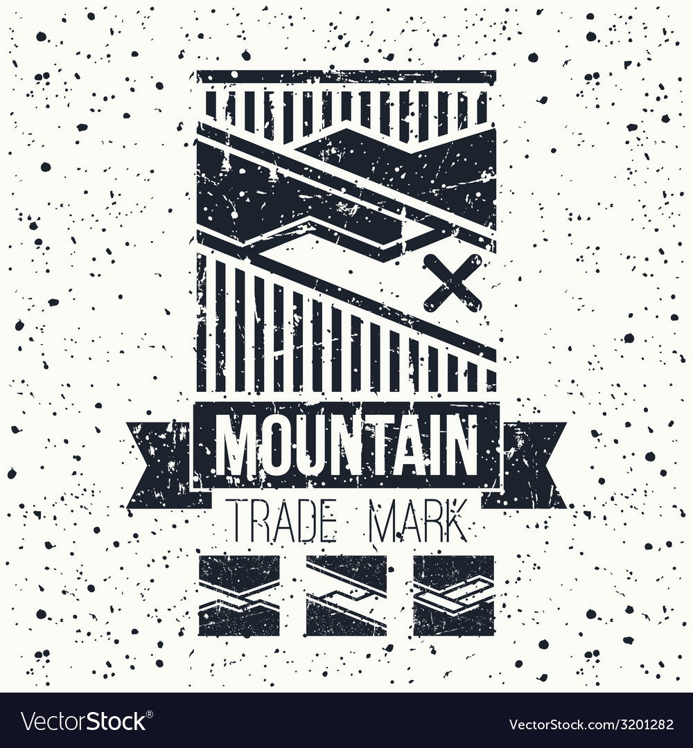 Snowboard winter mountains emblem vector | Price: 1 Credit (USD $1)