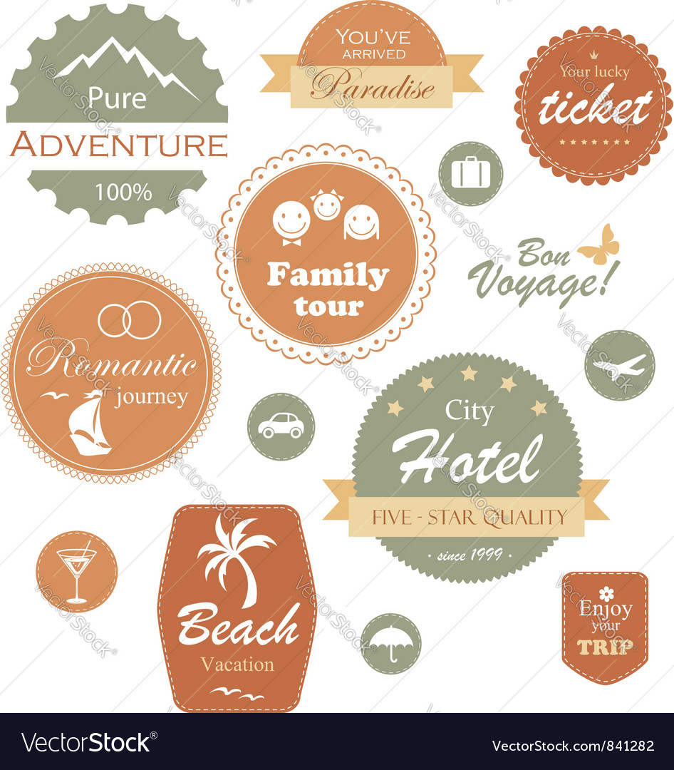 Travel and vacation label badge and emblem set vector | Price: 1 Credit (USD $1)