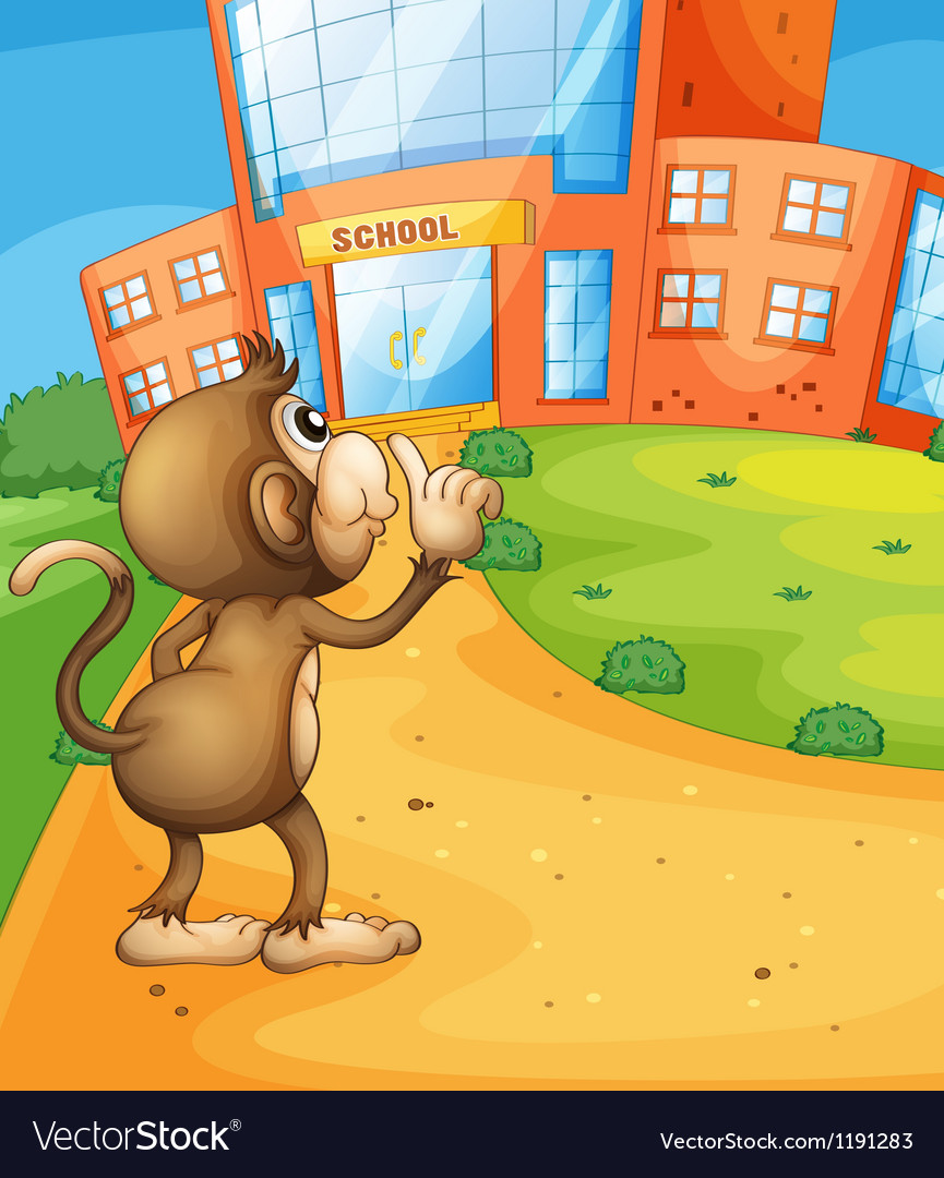 A monkey wondering in front of the school vector | Price: 1 Credit (USD $1)