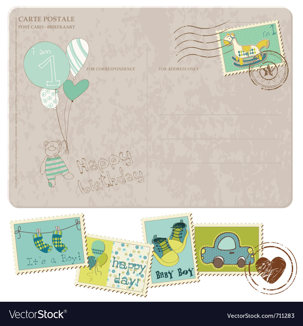 Baby boy arrival postcard with set of stamps vector | Price: 1 Credit (USD $1)