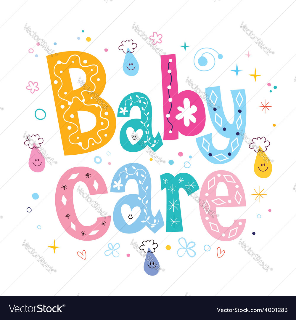 Baby care decorative lettering type design vector | Price: 1 Credit (USD $1)