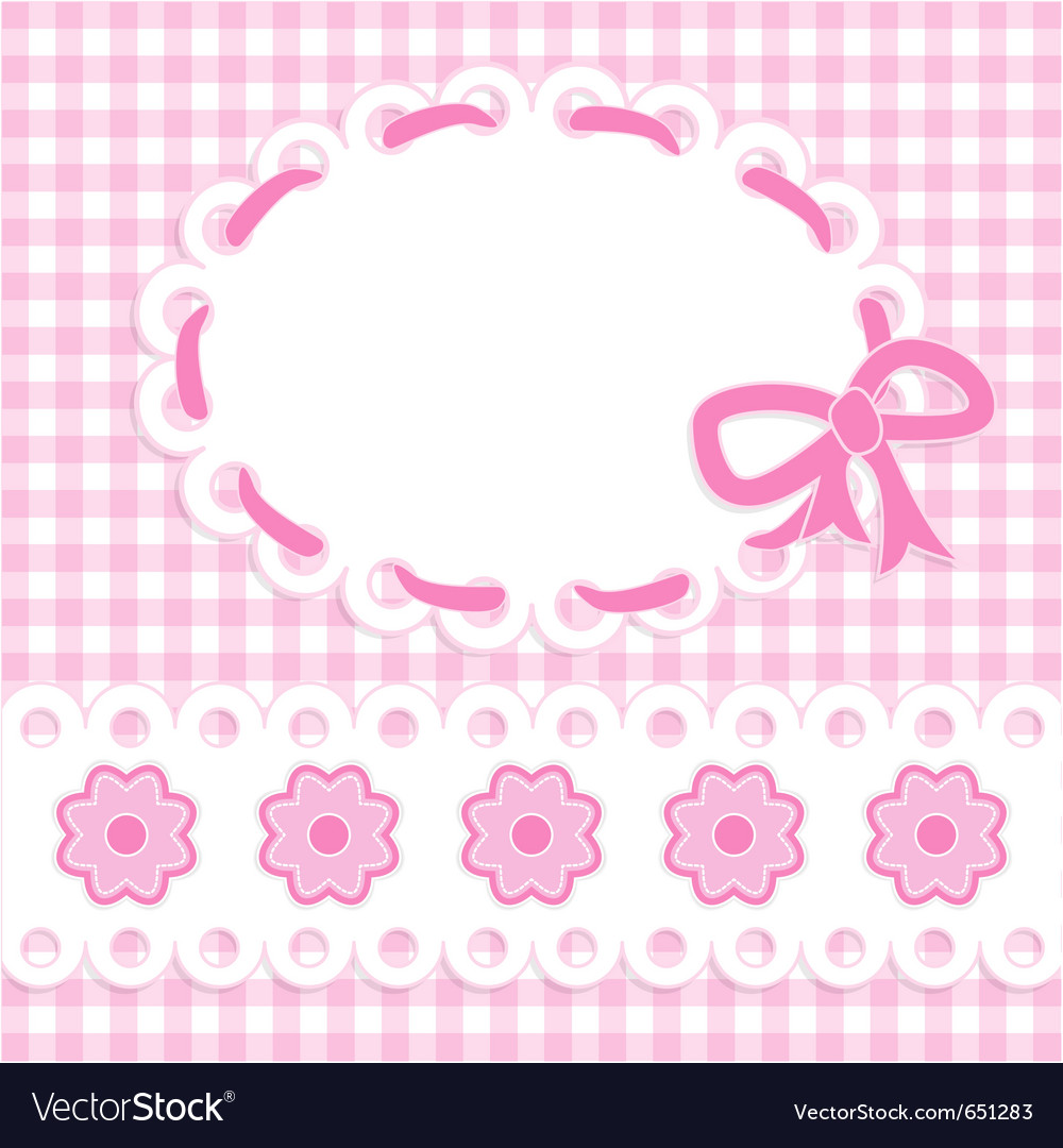Baby girl card with stripes and flowers vector | Price: 1 Credit (USD $1)