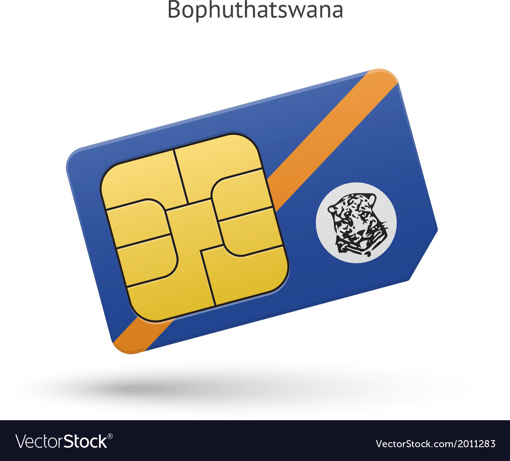 Bophuthatswana mobile phone sim card with flag vector | Price: 1 Credit (USD $1)