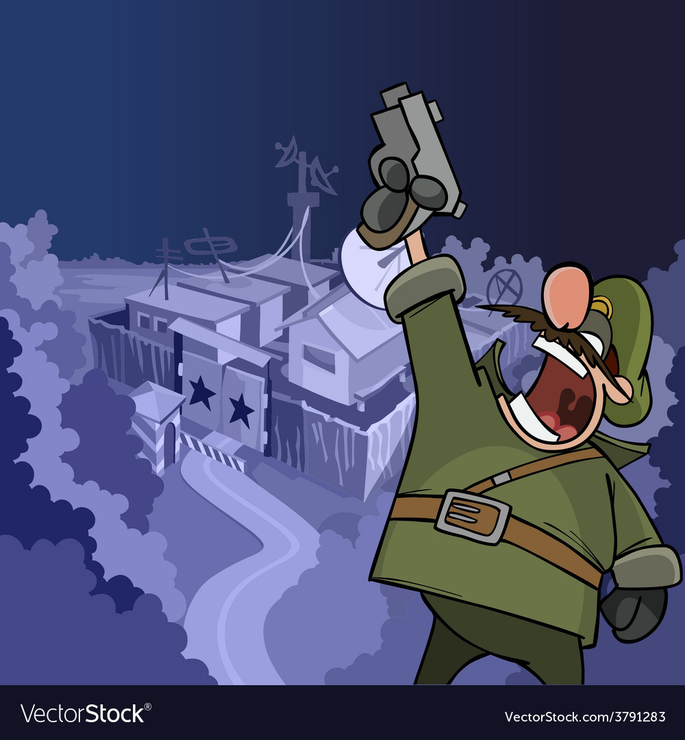 Cartoon soldier shouting aiming a pistol vector | Price: 3 Credit (USD $3)