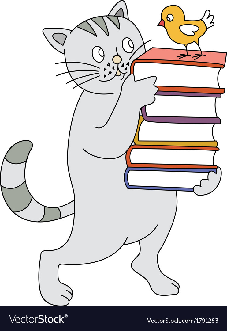 Cat and book vector | Price: 1 Credit (USD $1)