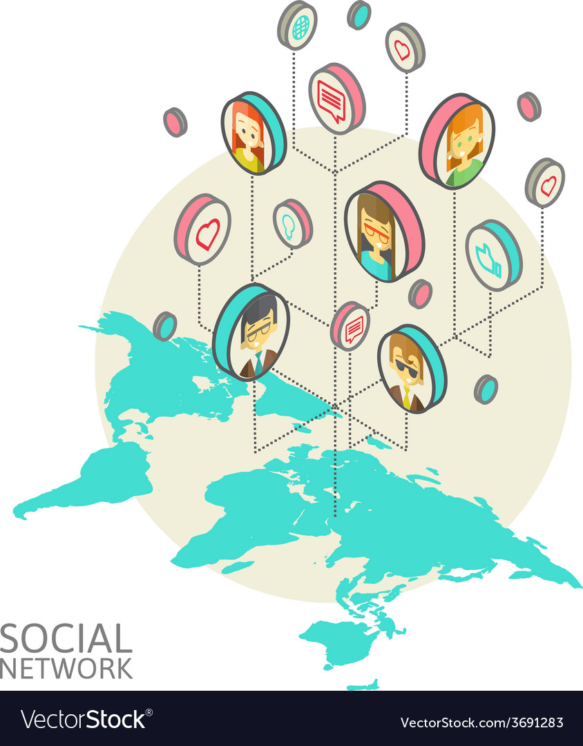 Conceptual image with social networks flat vector   Price: 1 Credit (USD $1)