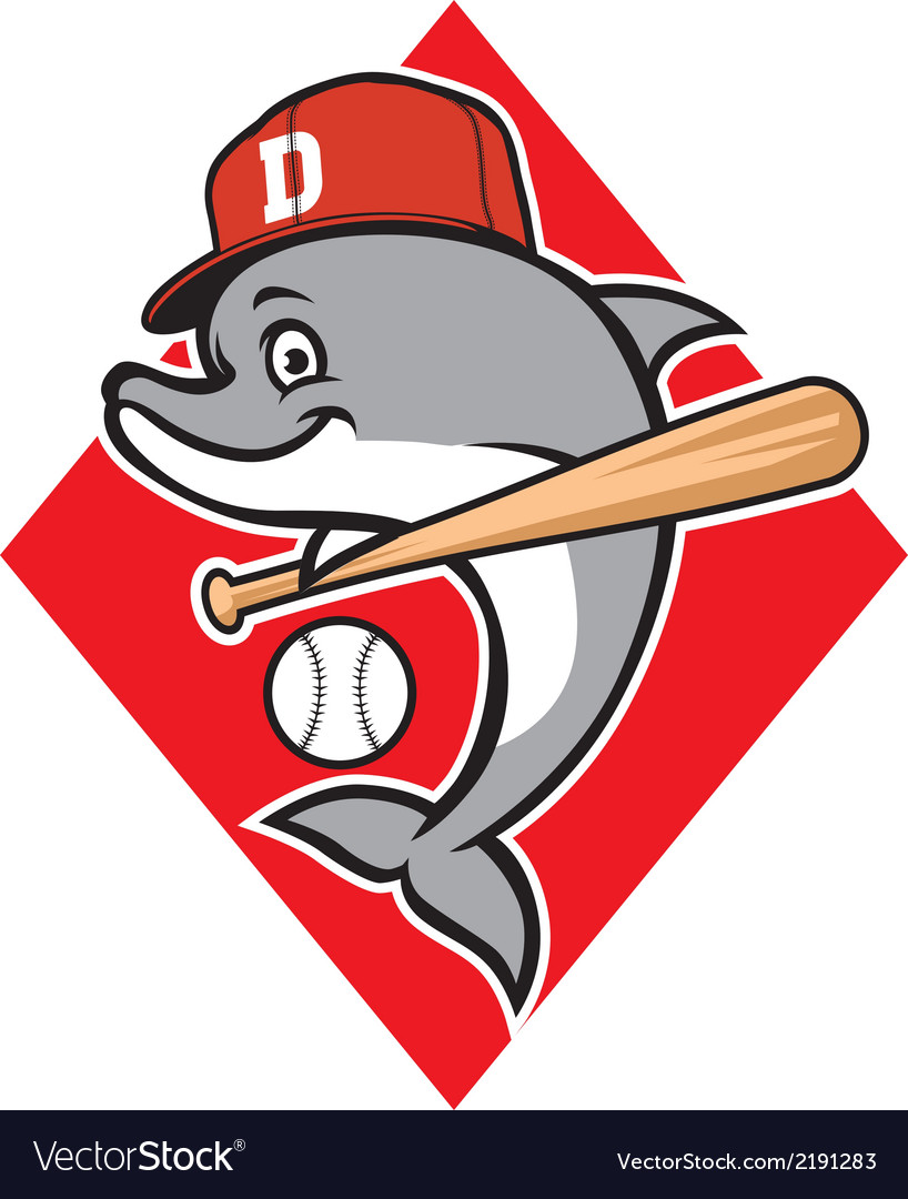 Dolphin baseball mascot vector | Price: 1 Credit (USD $1)