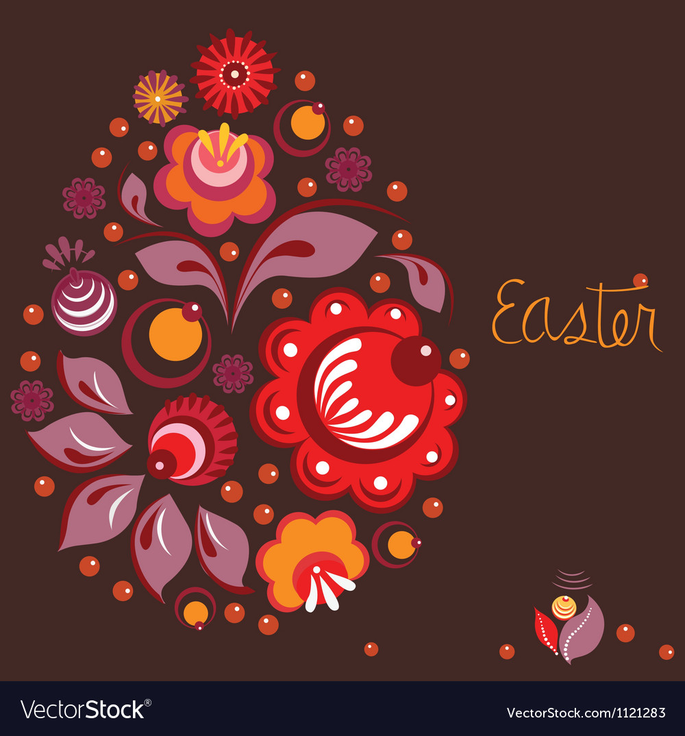 Easter greeting card in national russian style vector | Price: 1 Credit (USD $1)