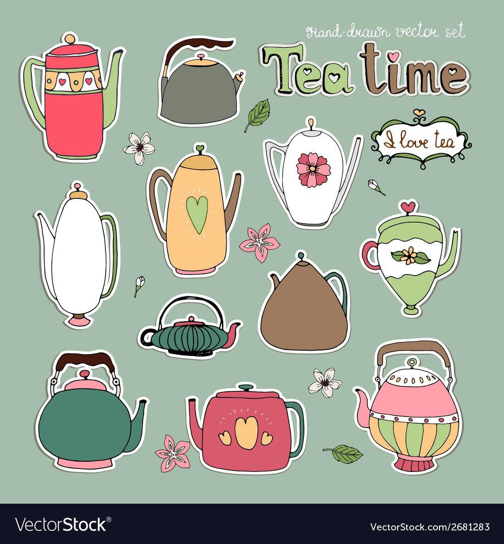 Hand drawn teapots and kettles vector | Price: 1 Credit (USD $1)