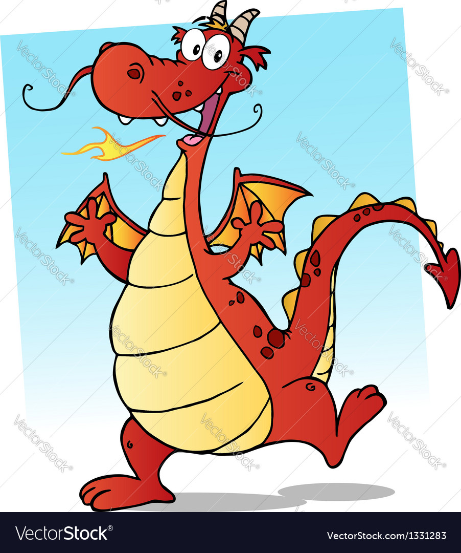 Happy red fire breathing dragon dancing vector | Price: 1 Credit (USD $1)
