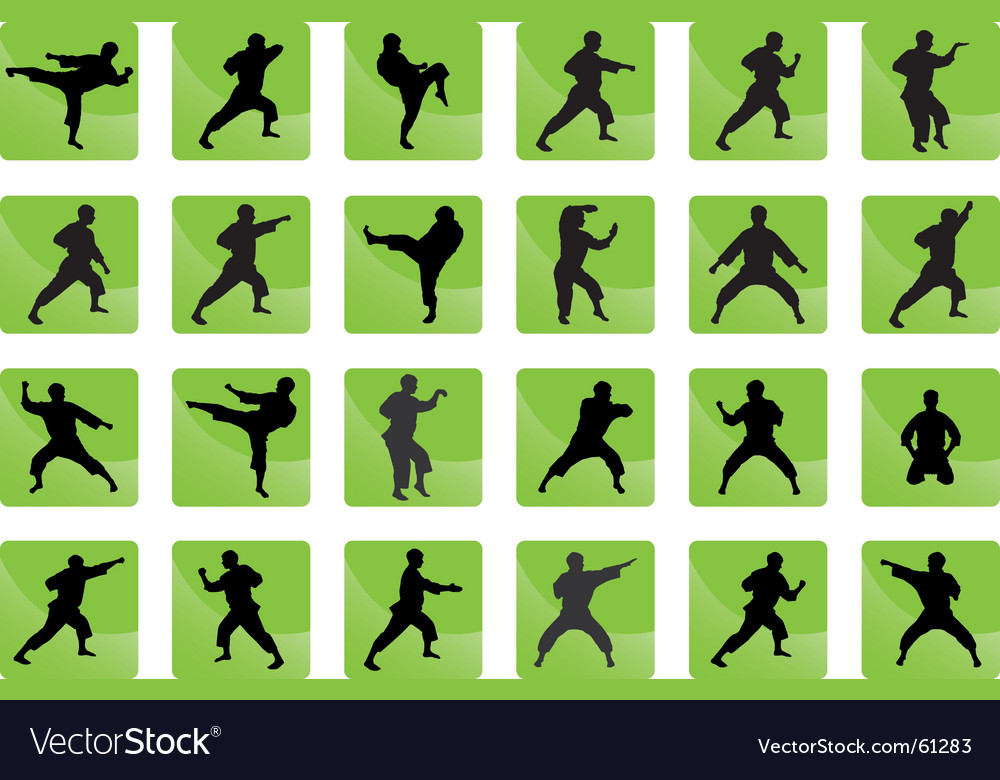 Icons of karate vector | Price: 1 Credit (USD $1)