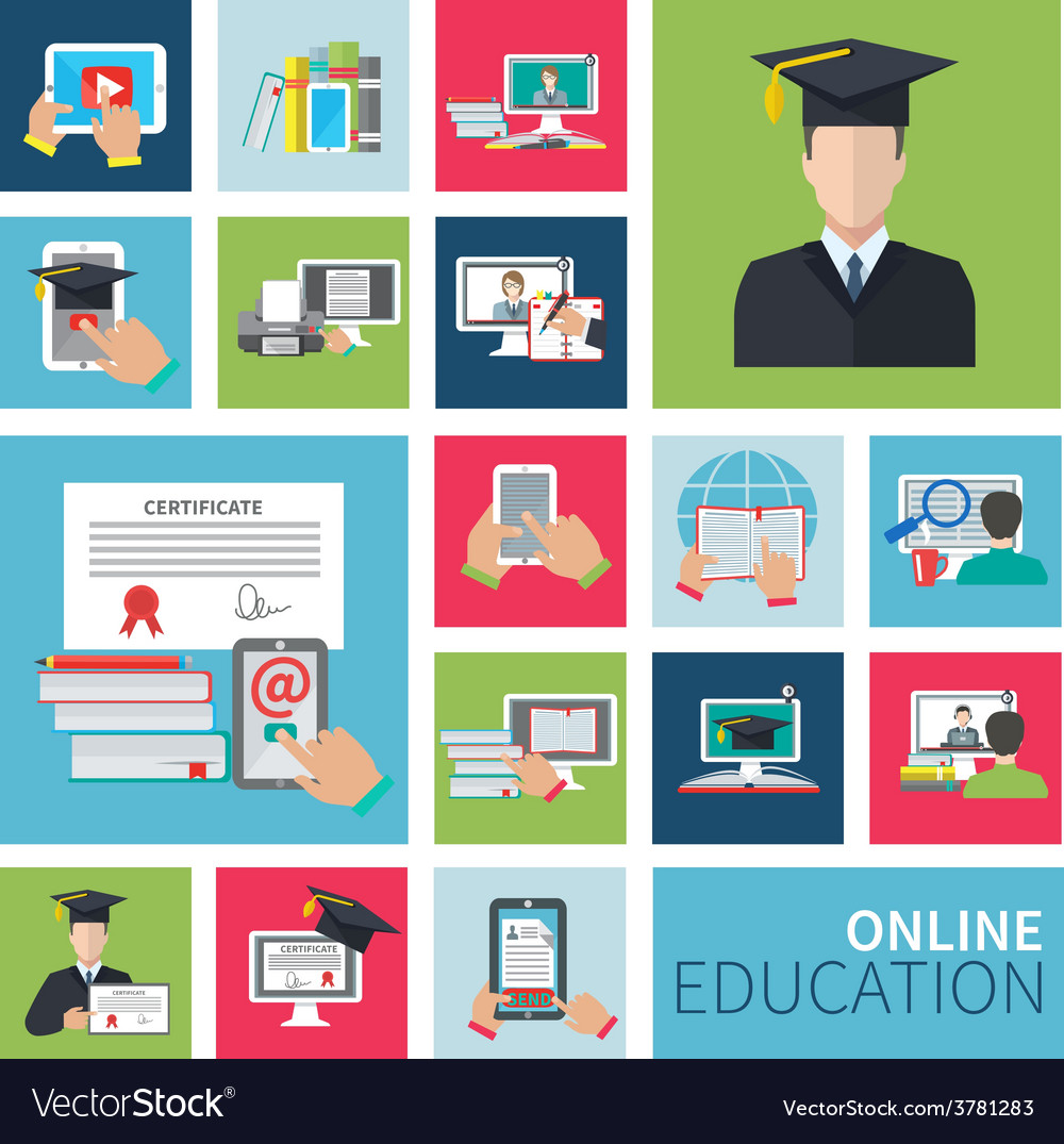 Online education flat icons vector | Price: 1 Credit (USD $1)