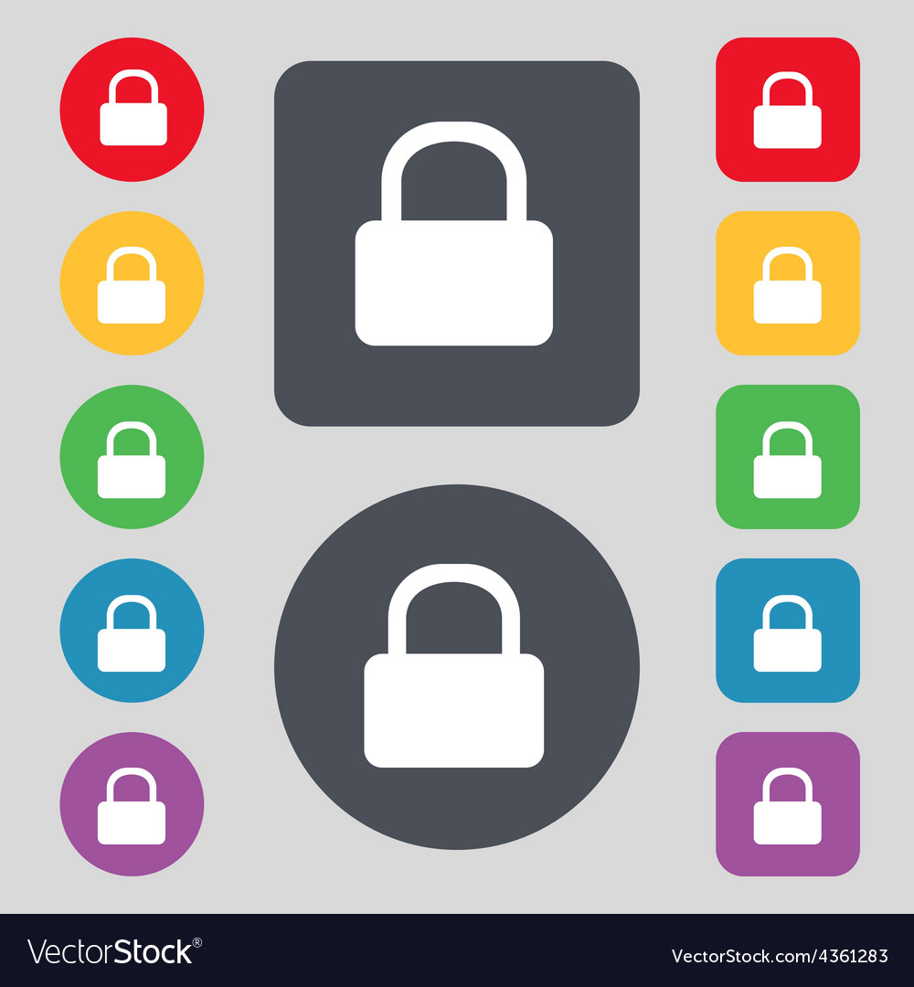 Pad lock icon sign a set of 12 colored buttons vector | Price: 1 Credit (USD $1)