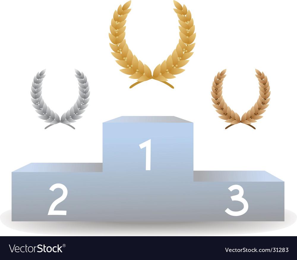 Pedestal with three laurel wreaths vector | Price: 1 Credit (USD $1)