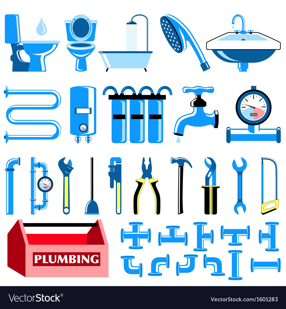 Plumbing colour icons set vector | Price: 1 Credit (USD $1)