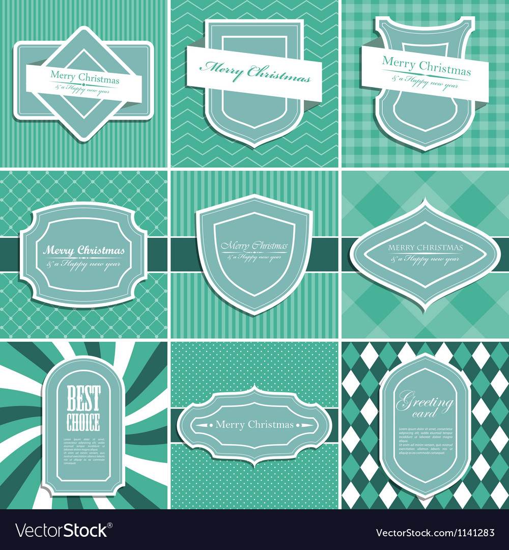 Set of christmas vintage backgrounds vector | Price: 1 Credit (USD $1)