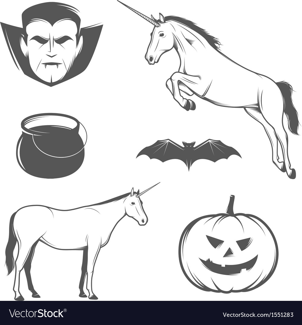 Set of halloween characters and design elements vector | Price: 1 Credit (USD $1)