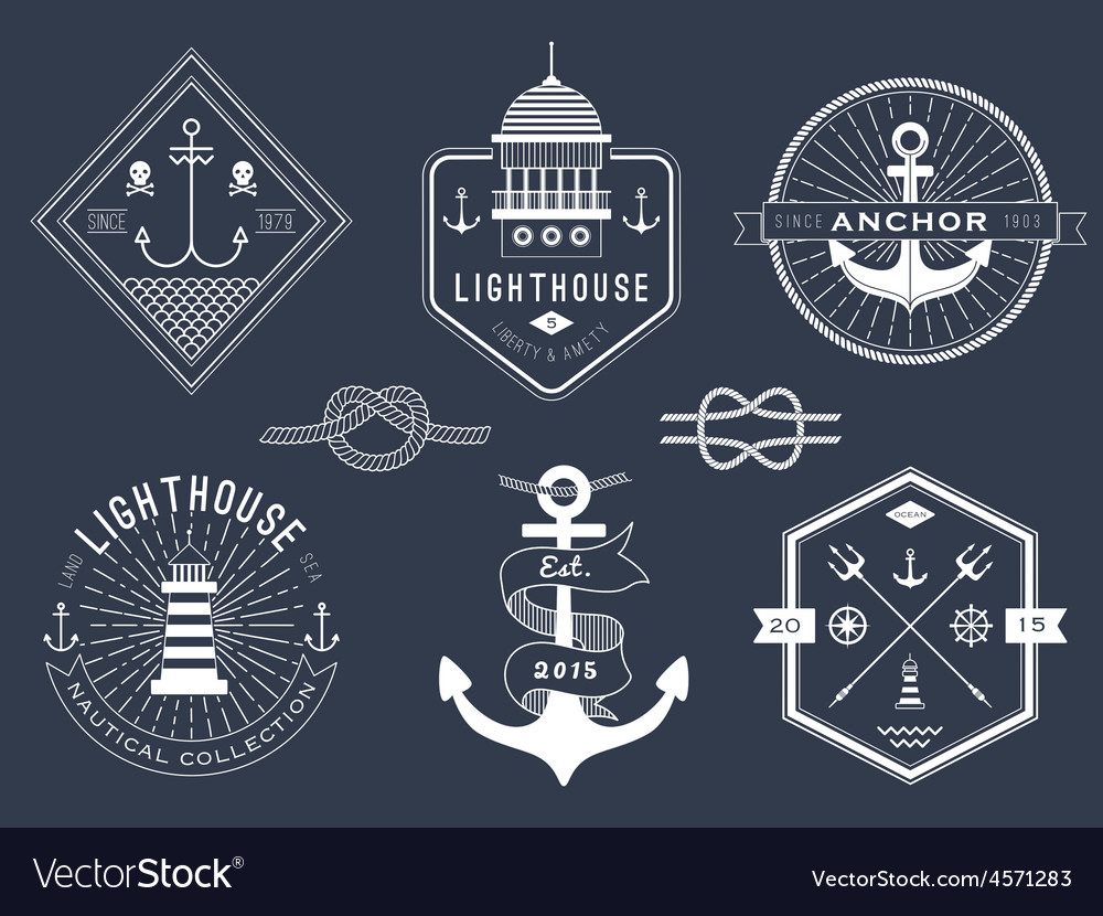 Set of nautical logos badges and labels vector   Price: 1 Credit (USD $1)