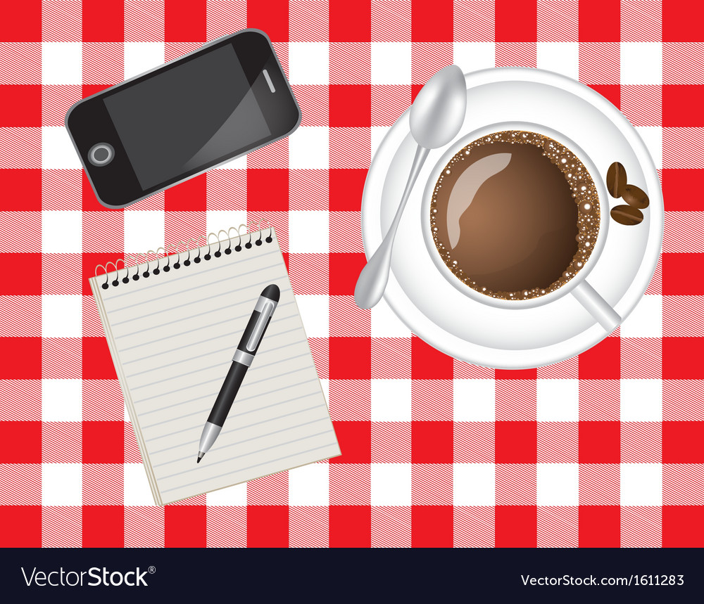 Telephone coffee and a notebook vector | Price: 1 Credit (USD $1)