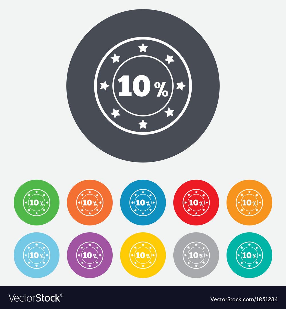 10 percent discount sign icon sale symbol vector | Price: 1 Credit (USD $1)
