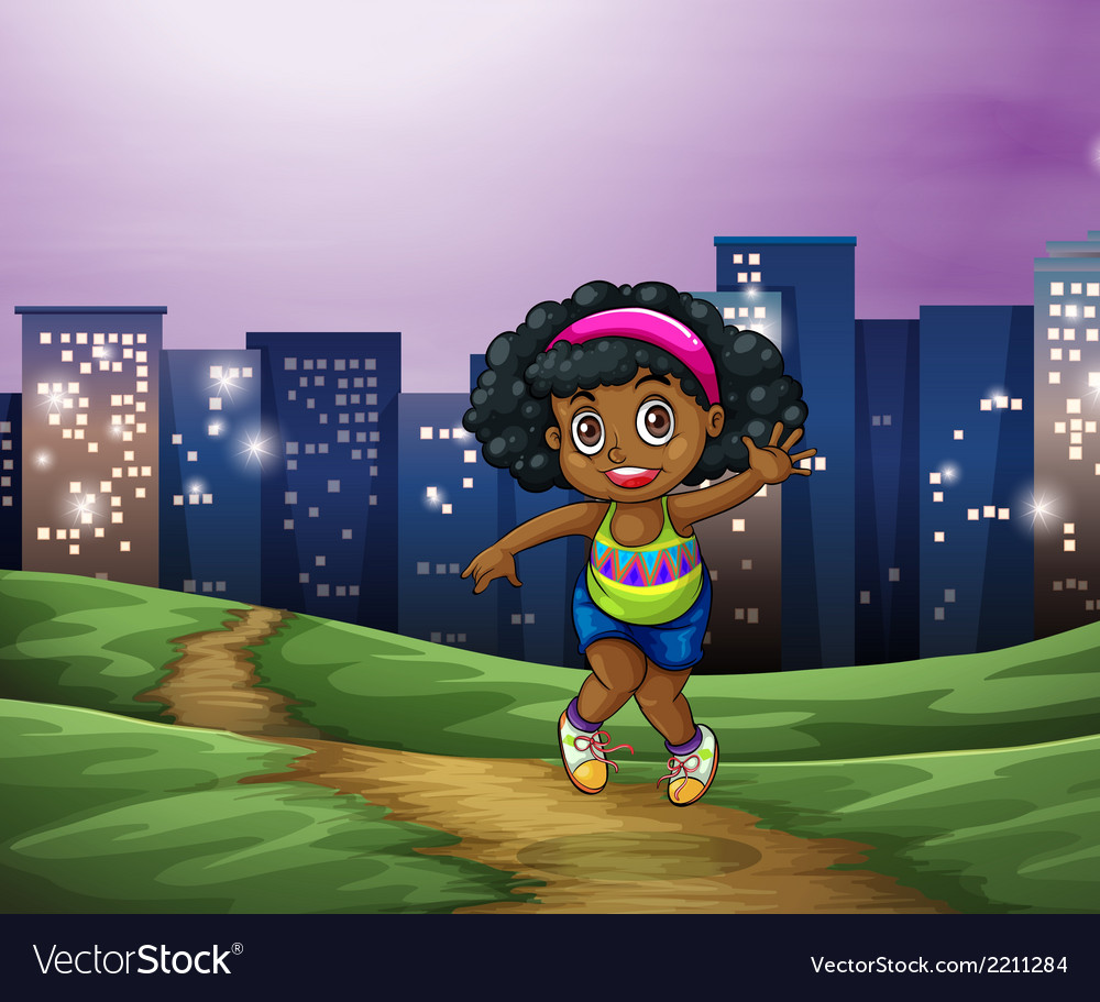 A young black girl across the tall buildings in vector | Price: 3 Credit (USD $3)