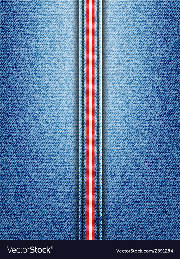 Denim with red and white striped seam vector | Price: 1 Credit (USD $1)