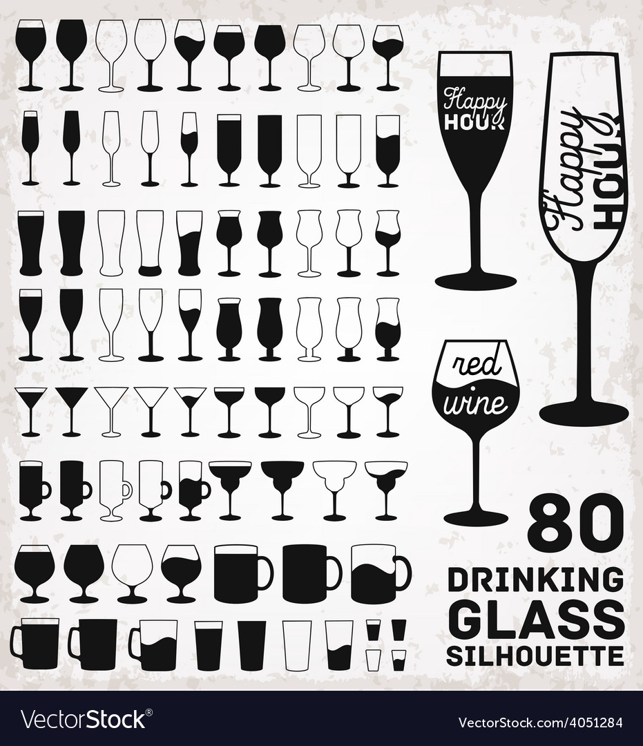 Drinking glass silhouettes vector