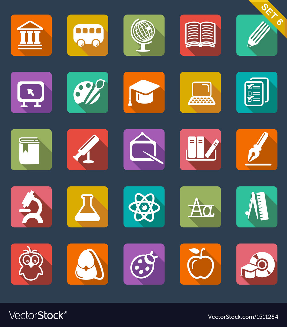 Education icon set- flat design vector | Price: 1 Credit (USD $1)
