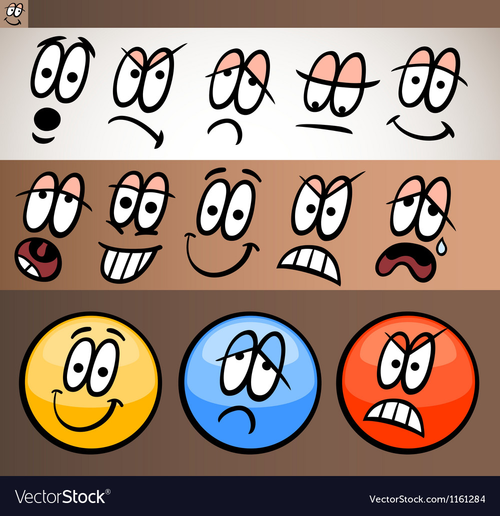 Emoticon elements set cartoon vector | Price: 1 Credit (USD $1)