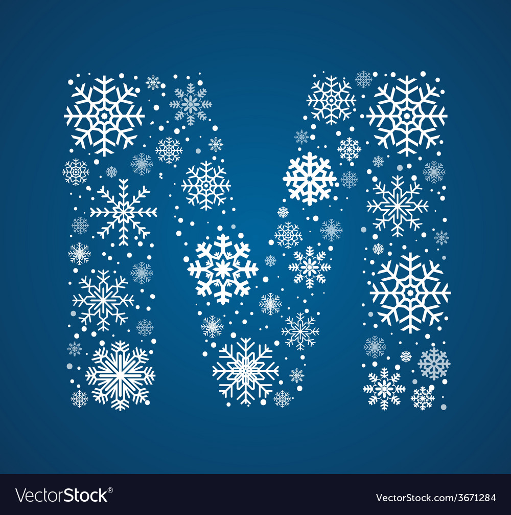 Letter m font frosty snowflakes vector   Price: 1 Credit (USD $1)