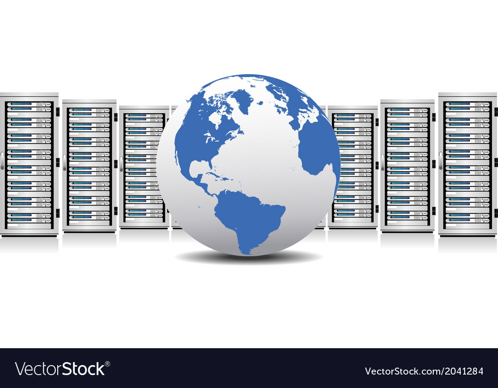 Network servers with globe vector | Price: 1 Credit (USD $1)