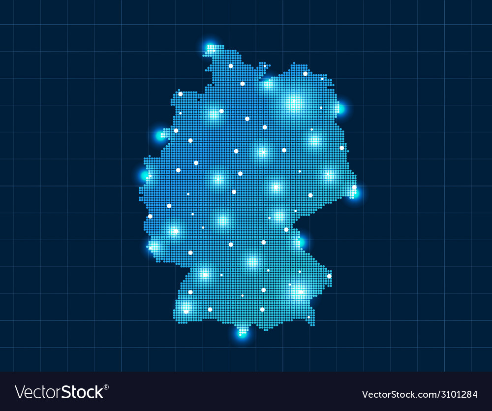 Pixel germany map with spot lights vector | Price: 1 Credit (USD $1)
