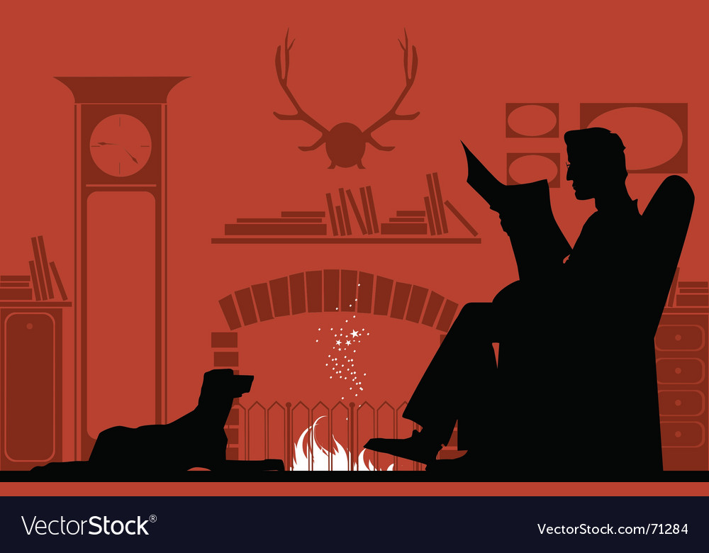 Reading by fireplace vector | Price: 1 Credit (USD $1)