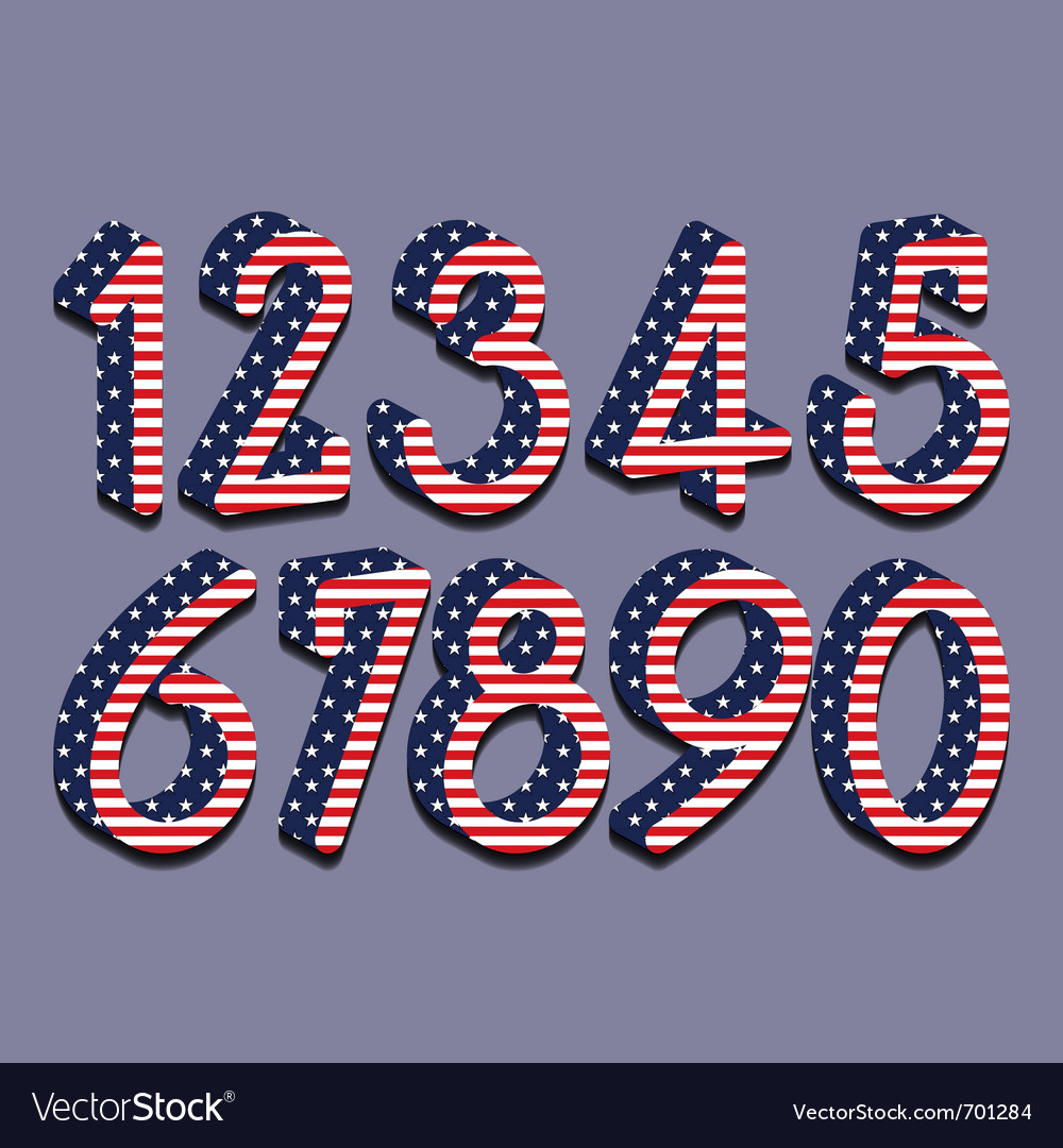 Stars and stripes numbers eps10 vector   Price: 1 Credit (USD $1)