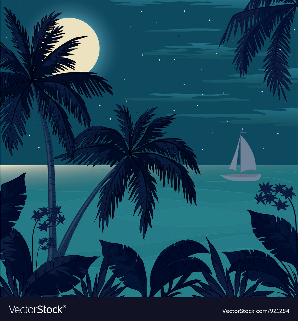 Tropical ocean landscape with palm trees vector | Price: 1 Credit (USD $1)