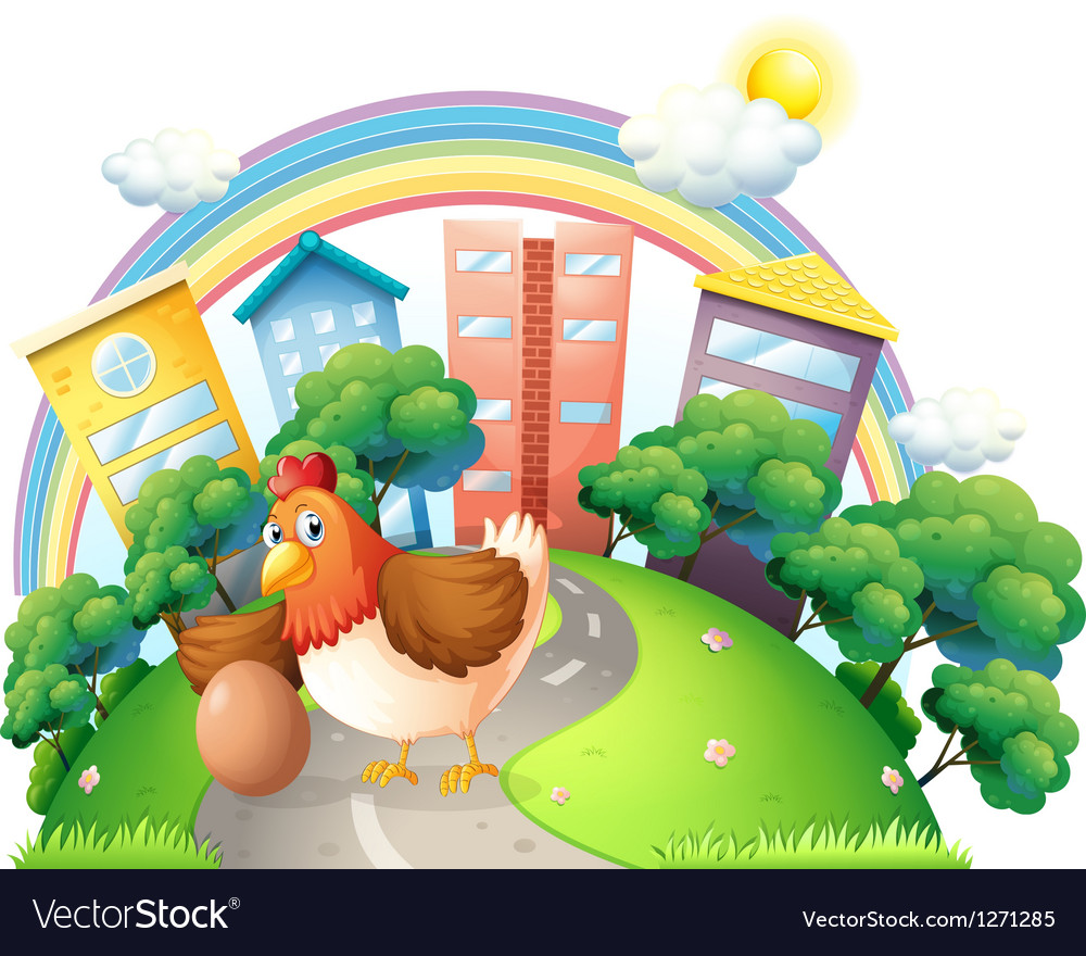 A hen and her egg at the road vector   Price: 1 Credit (USD $1)
