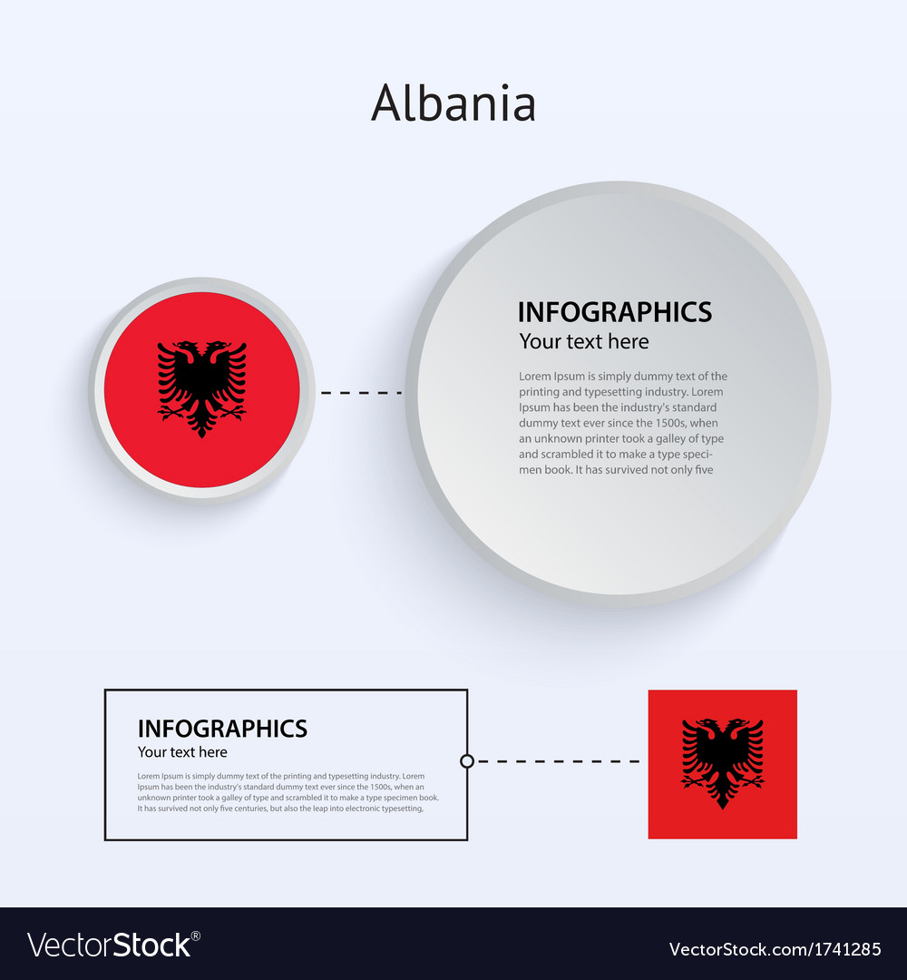 Albania country set of banners vector | Price: 1 Credit (USD $1)