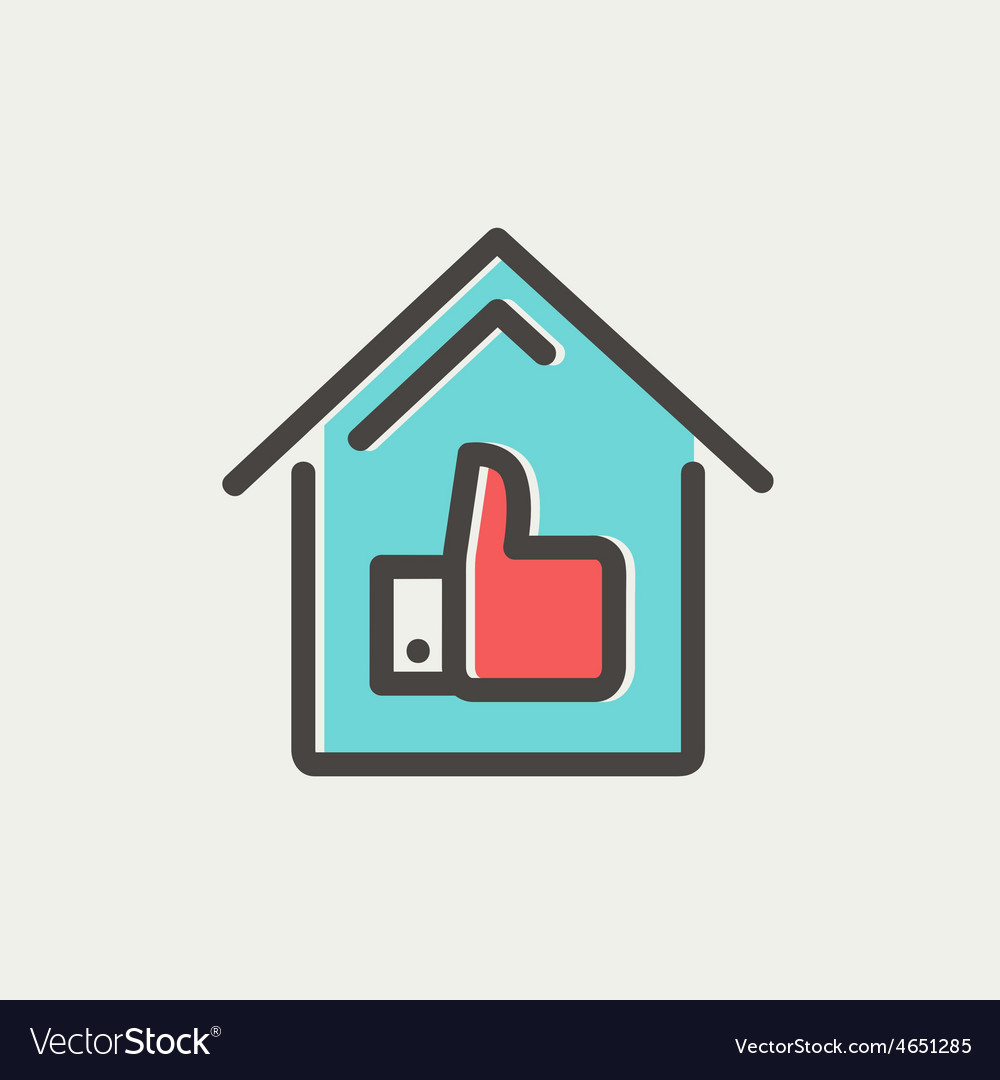 Approved housing loan thin line icon vector | Price: 1 Credit (USD $1)