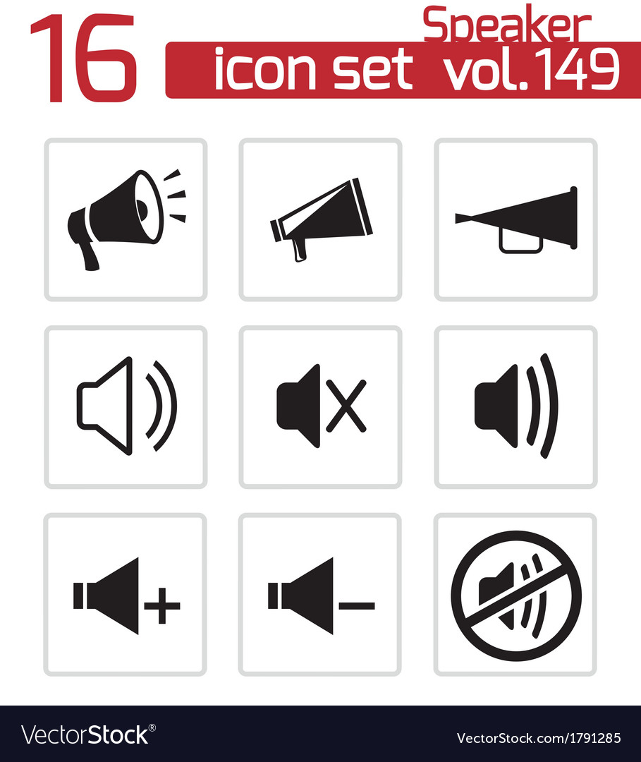 Black speaker icons set vector | Price: 1 Credit (USD $1)