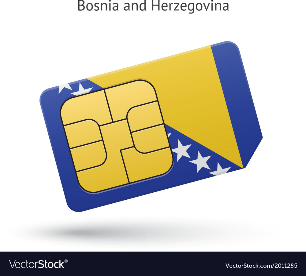 Bosnia and herzegovina phone sim card with flag vector | Price: 1 Credit (USD $1)