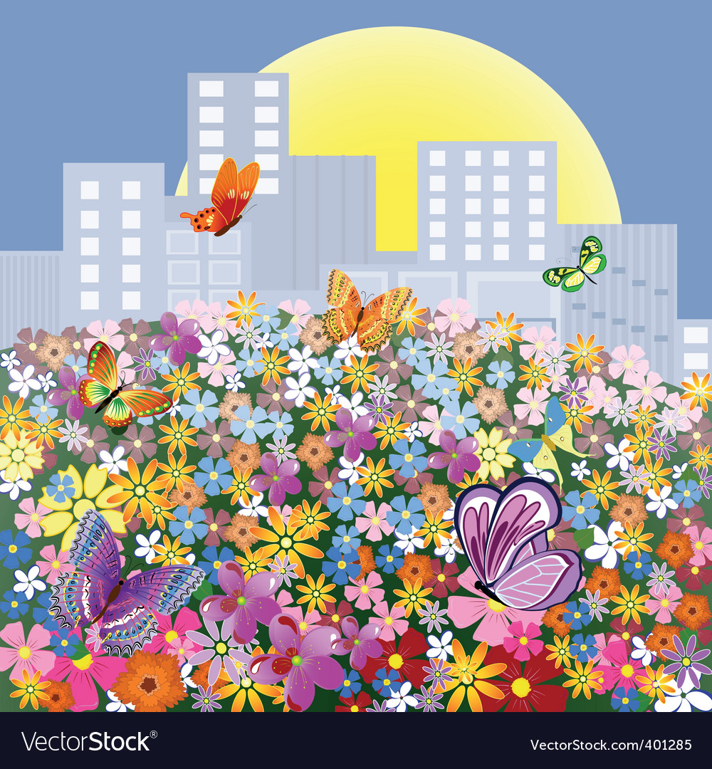 Flower meadow outside the city vector | Price: 1 Credit (USD $1)