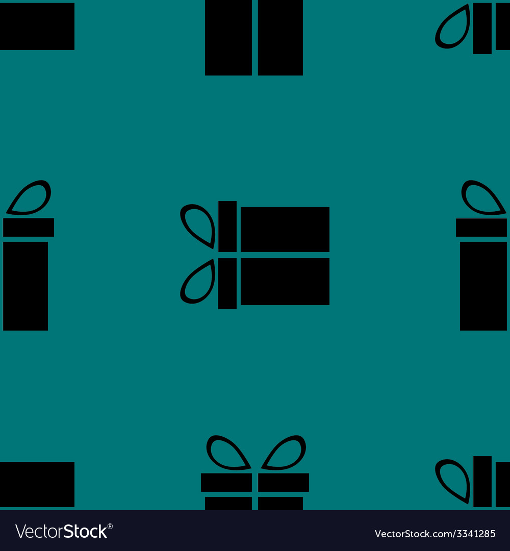 Gift web icon flat design seamless gray pattern vector | Price: 1 Credit (USD $1)