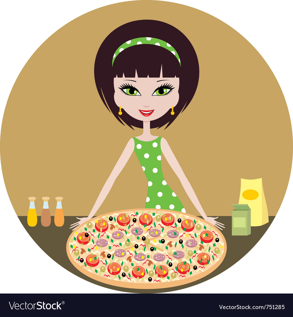 Girl with pizza vector | Price: 3 Credit (USD $3)